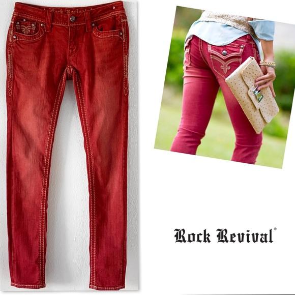 Rock Revival Denim - ROCK REVIVAL ASHLEY SKINNY RED JEANS SZ 27.